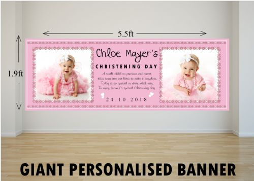 Personalised GIANT Large Girls Christening Baptism Poster Banner N7